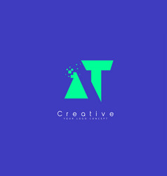 at letter logo design with negative space concept vector image