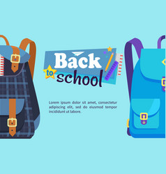 back to school poster with schoolchild rucksack vector image