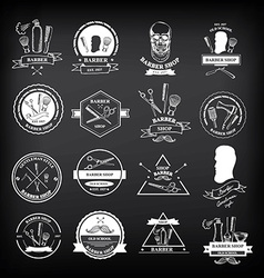 Barber shop labels icons vector