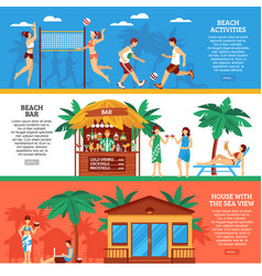 beach horizontal banners set vector image