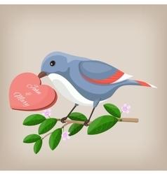 Bird holding heart wedding invitation vector image