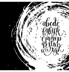 Black and white hand lettering alphabet design on vector