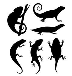 black silhouette cartoon chameleon climb vector image