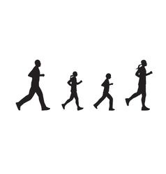Black silhouettes of running people Family vector