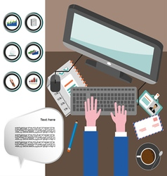 Business infographic with icons computer and typin vector