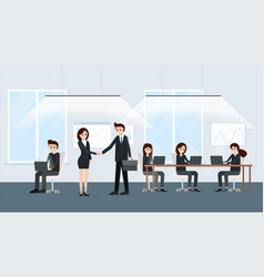 businessman and businesswoman at negotiations vector image