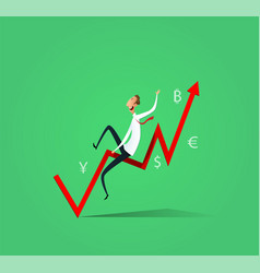 businessman ride the exchange rate vector image