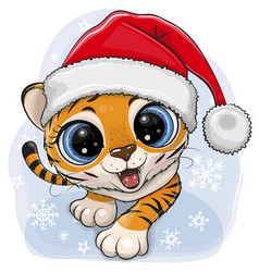 Cartoon tiger creeping up ion a blue background vector