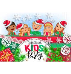 christmas kids party design vector image