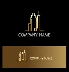 Cityscraper building line gold logo vector