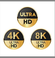 Collection of full hd 4k 8k and ultra hd icons 03 vector