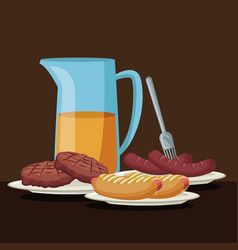 Color brown scene with glass jar with orange juice vector