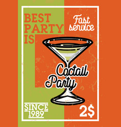 Color vintage cocktail party banner vector
