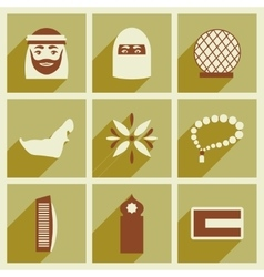 Concept flat icons with long shadow United Arab vector