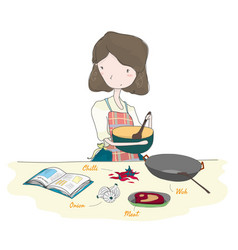 Cooking mother in kitchen with cookbook vector