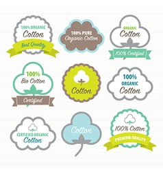 Cotton certificates labels set vector image