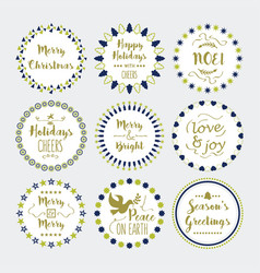 Cute christmas and holiday wishes wreath icons set vector
