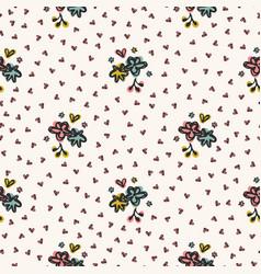 Cute ditsy daisy heart sprinkles flowery garden vector