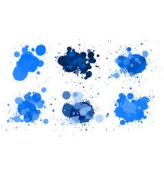 Different design fo watercolor splash in blue vector