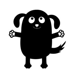 Dog puppy face black silhouette holding hands up vector