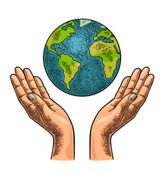 Earth planet in open female human palms vector