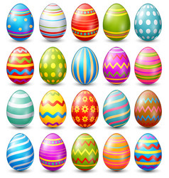Easter eggs collection on a white background vector