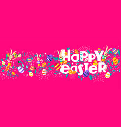 Easter holiday web banner with nature decoration vector