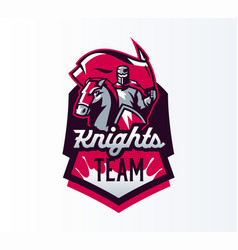 Emblem logo sticker knight with flag on vector