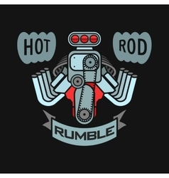Engine hot rod muscle car speedster logo t-shirt vector