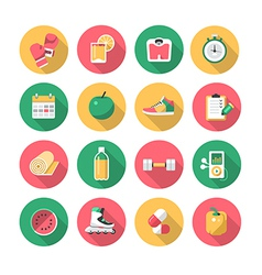 Fitness - Flat Icons vector image