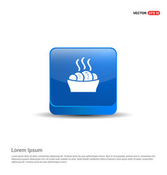 food icons - 3d blue button vector image