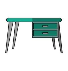 Green desk office work place icon vector
