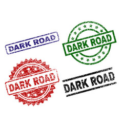 Grunge textured dark road seal stamps vector
