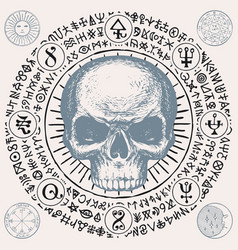 Hand-drawn banner with a human skull and runes vector