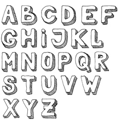 Hand drawn set of ABC letters Free-hand alphabet vector
