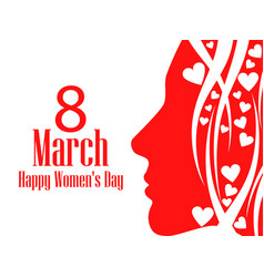 happy womens day greeting card 8 march female vector image
