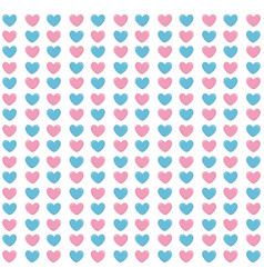 Hearts blue and pink pattern background vector