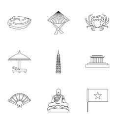 Holiday in Vietnam icons set outline style vector