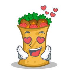 In love kebab wrap character cartoon vector
