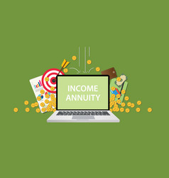 income annuity with text on laptop display with vector image