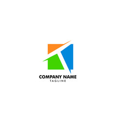 initial letter t square logo vector image