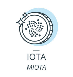 iota cryptocurrency coin line icon of virtual vector image