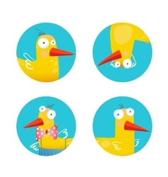 Kids Duck Funny Icons Set vector image