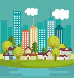 Landscape with neighborhood and lake scene vector
