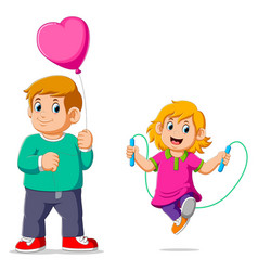 Little girl doing skipping rope with her brother vector