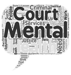Mental health courts text background wordcloud vector