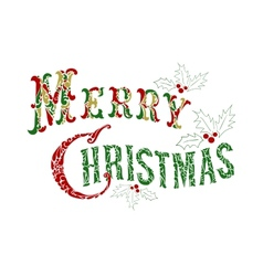 Merry Christmas congratulation text vector image