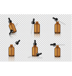 Mock up realistic transparent amber dropper vector