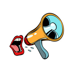 Mouth screaming into a megaphone isolated on vector