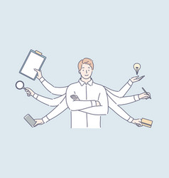 Multitasking business efficiency overload vector